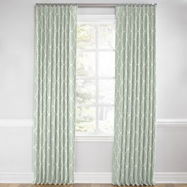 Sea Green Quatrefoil Euro Pleated Curtains Close Up
