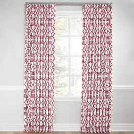 Asian Pink Trellis Euro Pleated Curtains Close Up