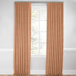 Tribal Orange Diamond Euro Pleated Curtains Close Up