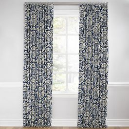 Natural & Blue Botanical  Euro Pleated Curtains Close Up