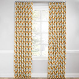 Tan & Orange Chevron  Euro Pleated Curtains Close Up
