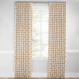 Beige & Orange Hexagon Euro Pleated Curtains Close Up