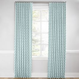 Aqua Blue Block Print Euro Pleated Curtains Close Up