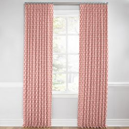 Pink Block Print Euro Pleated Curtains Close Up