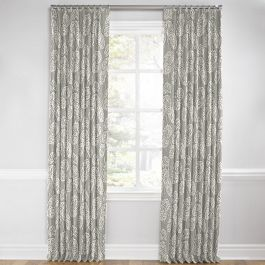 Gray Fan Leaf Euro Pleated Curtains Close Up