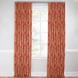 Coral Red Fan Leaf Euro Pleated Curtains Close Up