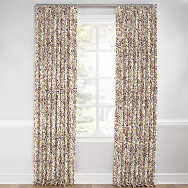 Stenciled Red & Gray Paisley Euro Pleated Curtains Close Up