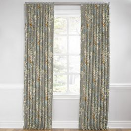 Intricate Gray Floral Euro Pleated Curtains Close Up