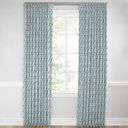 Aqua Blue Lattice Euro Pleated Curtains Close Up