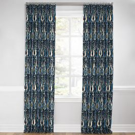 Navy Blue Ikat Euro Pleated Curtains Close Up