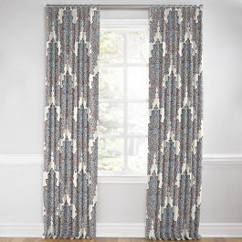 Coral & Blue Paisley Damask Euro Pleated Curtains Close Up