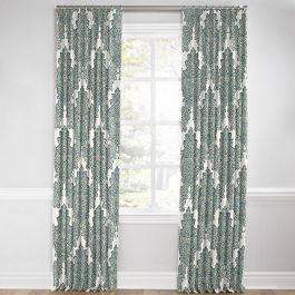 Paisley-Style Aqua Damask Euro Pleated Curtains Close Up