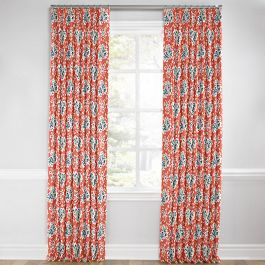 Blue & Pink Coral Leaf Euro Pleated Curtains Close Up
