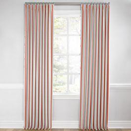 Aqua & Coral Pink Stripe Euro Pleated Curtains Close Up
