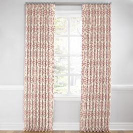 Scrolled Pink Trellis Euro Pleated Curtains Close Up