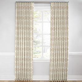 Tan Scroll Trellis Euro Pleated Curtains Close Up