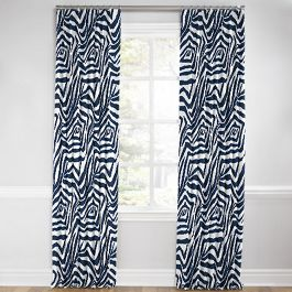 Blue Zebra Print Euro Pleated Curtains Close Up
