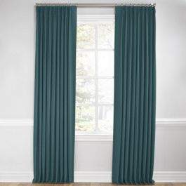 Dark Teal Velvet Euro Pleated Curtains Close Up