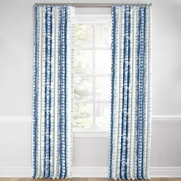 Aqua Blue Shibori Stripe Euro Pleated Curtains Close Up