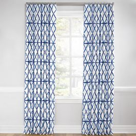 Blue Watercolor Diamond Euro Pleated Curtains Close Up