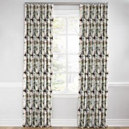 Black & White Shibori Euro Pleated Curtains Close Up