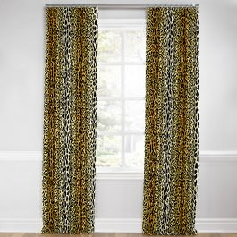 Velvet Leopard Print Euro Pleated Curtains Close Up