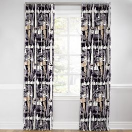 Black & White Brushstrokes Euro Pleated Curtains Close Up
