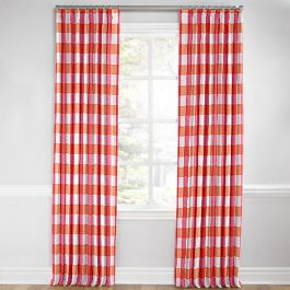Pink & Orange Buffalo Check Euro Pleated Curtains Close Up