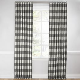 Gray & White Buffalo Check Euro Pleated Curtains Close Up