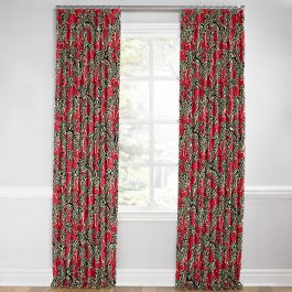 Black, White & Red Zebra Euro Pleated Curtains Close Up