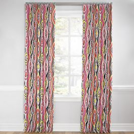 Hot Pink & Orange Abstract Euro Pleated Curtains Close Up