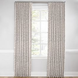 Gray & White Leopard Print Euro Pleated Curtains Close Up