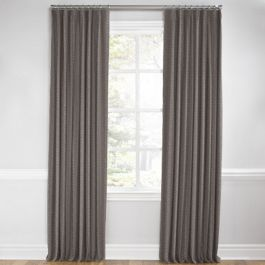 Dark Taupe Dotted Stripe Euro Pleated Curtains Close Up
