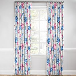 Blue & Pink Floral Euro Pleated Curtains Close Up