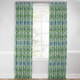 Green & Blue Ikat Euro Pleated Curtains Close Up