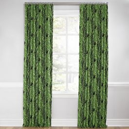 Green & Black Palm Leaf Euro Pleated Curtains Close Up