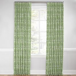 Green Watercolor Trellis Euro Pleated Curtains Close Up