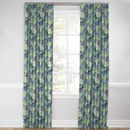 Green Hillside Floral Euro Pleated Curtains Close Up