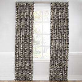 Tan & Black Tribal Print Euro Pleated Curtains Close Up