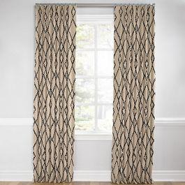 Black & Tan Tribal Trellis Euro Pleated Curtains Close Up