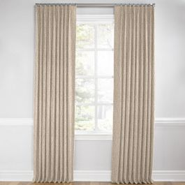 White & Tan Embroidery Euro Pleated Curtains Close Up