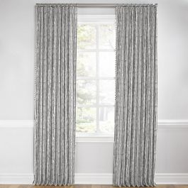Black & White Bamboo Euro Pleated Curtains Close Up