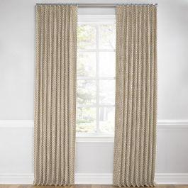 Dark Beige Geometric Arrow Euro Pleated Curtains Close Up