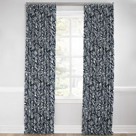 Modern Navy Blue Floral Euro Pleated Curtains Close Up