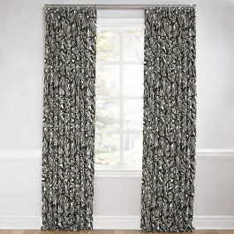 Modern Black & White Floral Euro Pleated Curtains Close Up