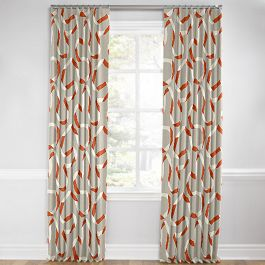 Orange Red Ribbon Euro Pleated Curtains Close Up
