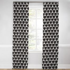 Flocked Black & White Bird Euro Pleated Curtains Close Up
