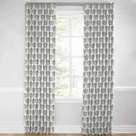Flocked Gray Bird Euro Pleated Curtains Close Up