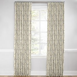 Silver & Tan Abstract Stripes Euro Pleated Curtains Close Up