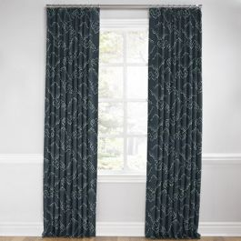 Navy Blue Cloud Euro Pleated Curtains Close Up